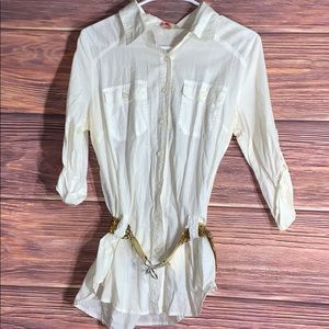 Forever 21 white cream button up with belt